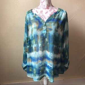 Dress Barn Watercolor Split Neck Blouse 2XL Blue